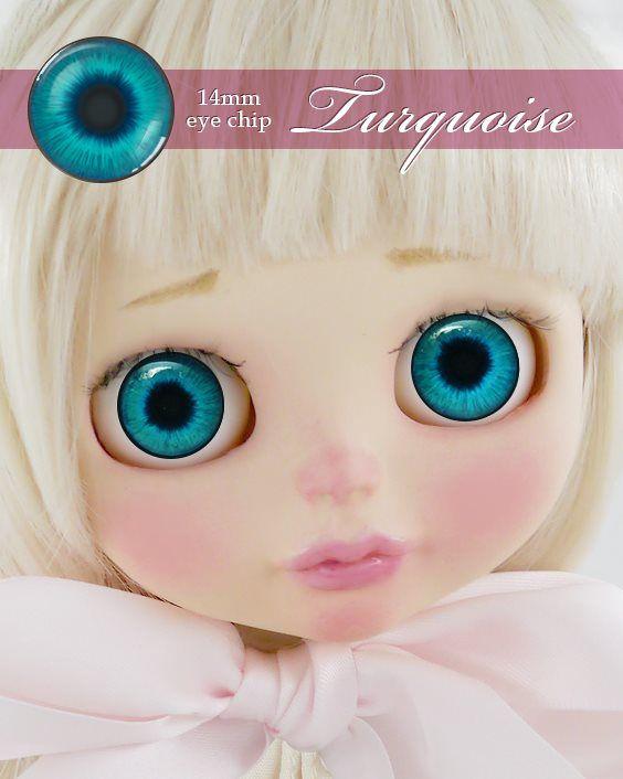ガラスアイチップ ターコイズ[1/6ドール・14mmアイ対応ガラスアイチップ カスタム]Doll Lab(ドールラボ)