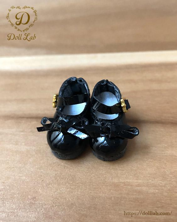 エナメルリボンシューズ [オビツ11 OB11 ミディブライス] ドール靴【黒】