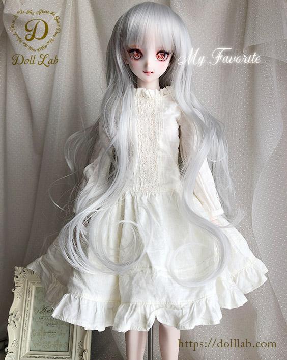 プリンセスシフォン ホワイトシルバー【9inch】ドールウィッグ