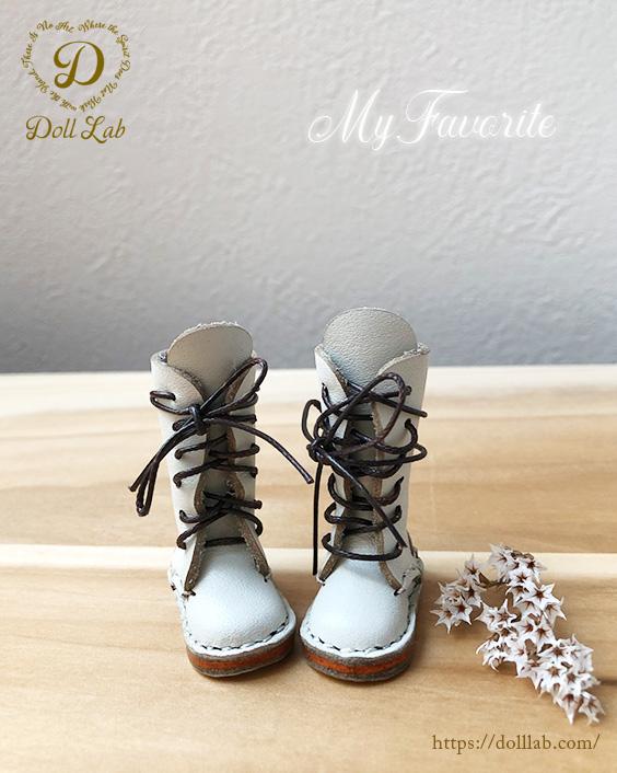 ドール 靴 本革 編み上げロングブーツ [ブライス]オフホワイト