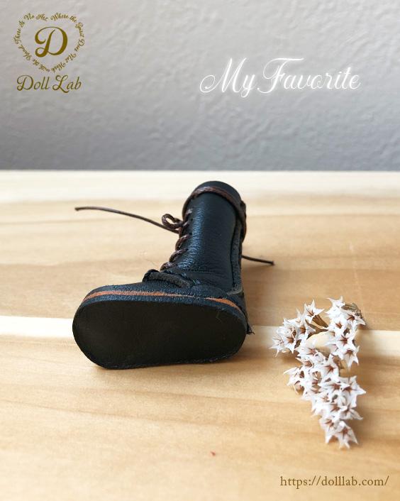 ドール 靴 本革 編み上げロングブーツ[ブライス] 黒