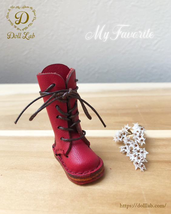 ドール 靴 本革 編み上げロングブーツ [ブライス]レッド