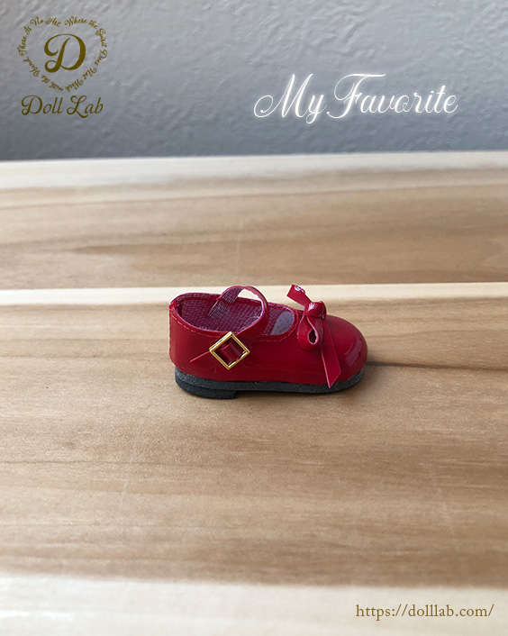 エナメルリボンシューズ ソフィア [幼SD,BJD] ドール 靴【赤】