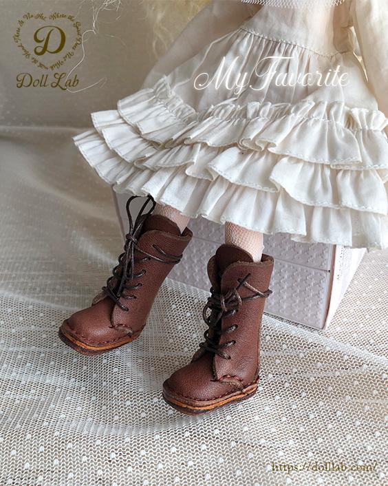 ドール 靴 本革 編み上げロングブーツ [ブライス]チョコブラウン