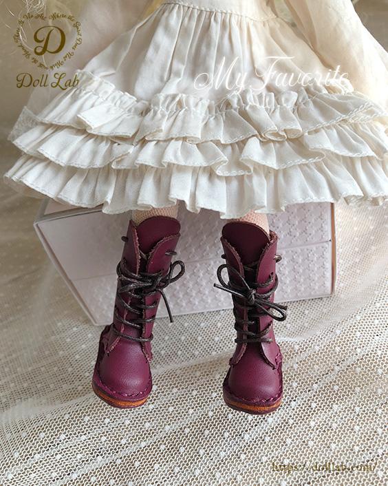 ドール 靴 本革 編み上げロングブーツ [ブライス]パープル