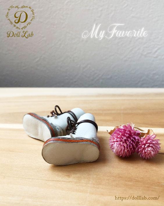 ドール 靴 本革 編み上げショートブーツ [ブライス]オフホワイト