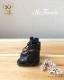 ドール 靴 本革 編み上げショートブーツ [ブライス]黒