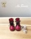 ドール 靴 本革 編み上げショートブーツ [ブライス]レッド