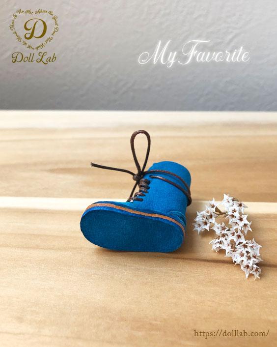 ドール 靴 本革 編み上げショートブーツ [ブライス]スカイブルー