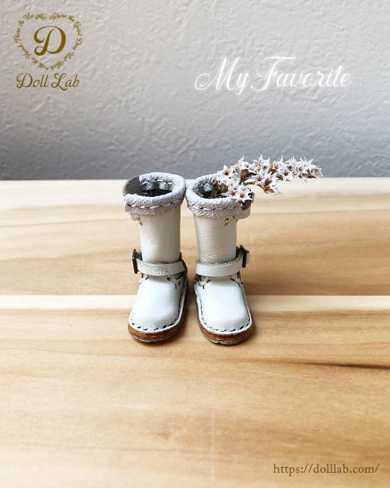 ドール 靴 本革 エンジニアブーツ [ブライス]オフホワイト