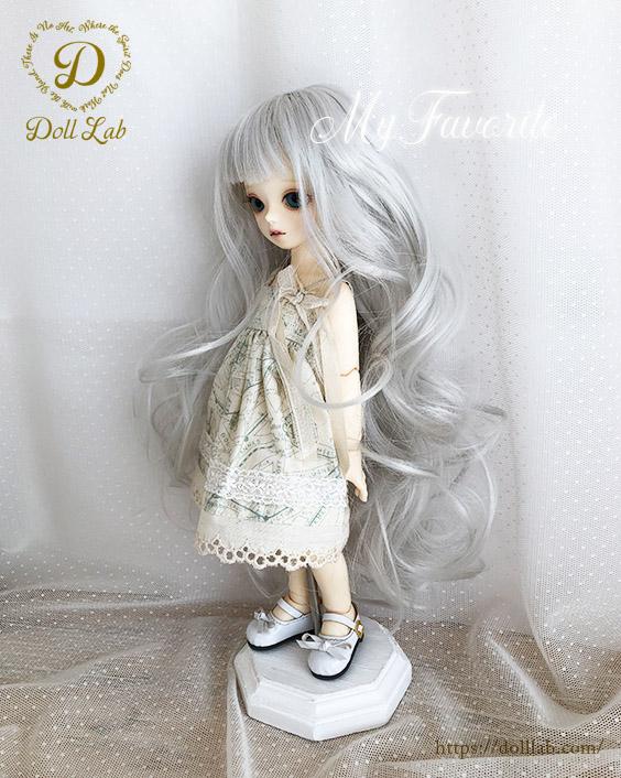 幼SD MSD 【6〜7inch】 ドールウィッグ プリンセスシフォン シルバー