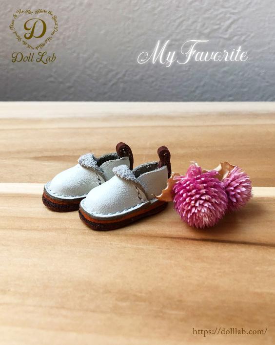 ドール 靴 本革 パンシューズ [ブライス]オフホワイト