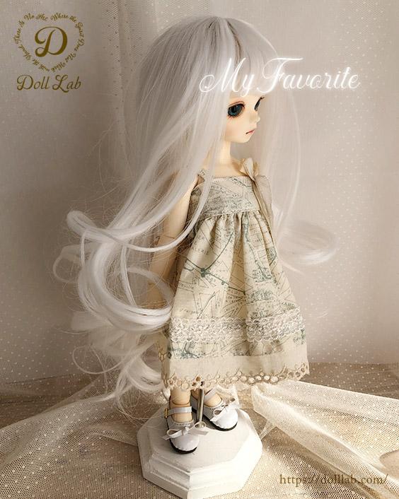 幼SD MSD 【6〜7inch】 ドール ウィッグ プリンセスシフォン A005 ピュアホワイト
