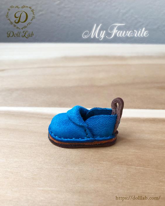 ドール 靴 本革 パンシューズ [ブライス]スカイブルー