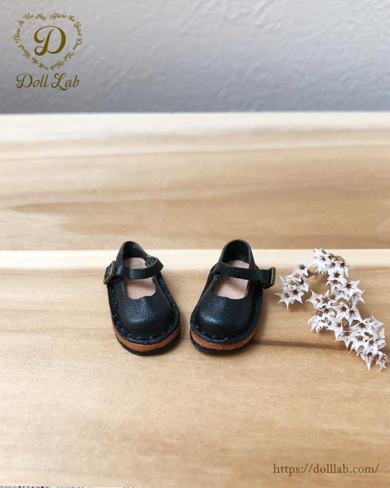 ドール 靴 本革 ストラップシューズ [ブライス]黒