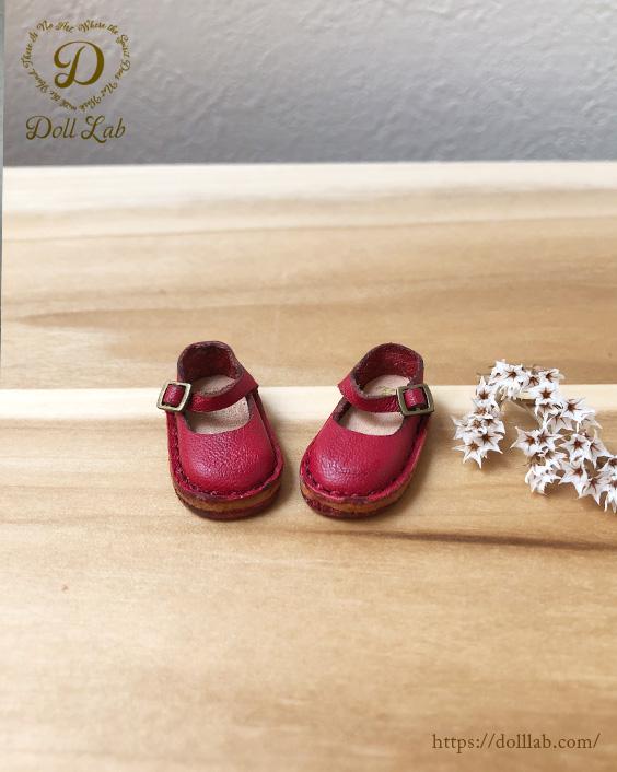 ドール 靴 本革 ストラップシューズ [ブライス]レッド