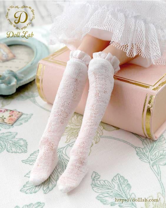 フリルレースニーハイソックス ホワイト[1/6・22cm対応ドールインナー アウトフィット 靴下 カスタム]Doll Lab(ドールラボ)