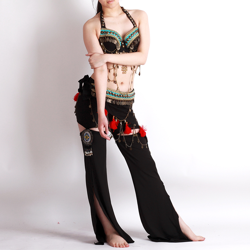 ベリーダンス衣装 トライバル品番D-015ブラヒップスカーフとパンツ3点セット