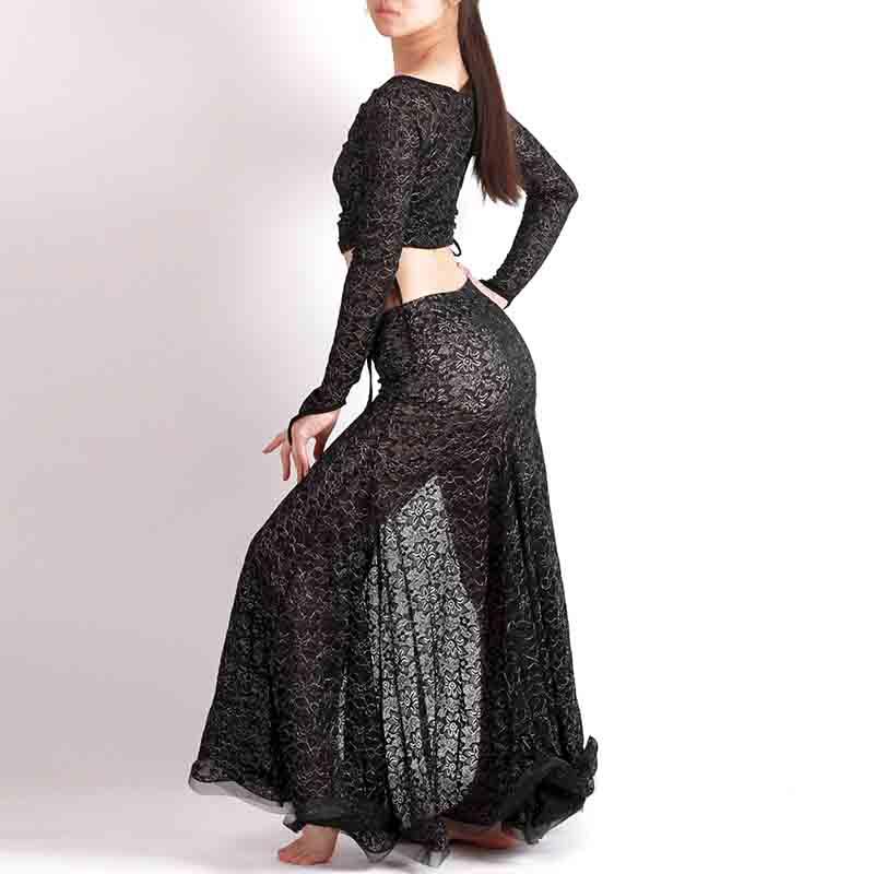 ベリーダンス衣装ワンピース2wayストレッチレース上下セット品番K-008