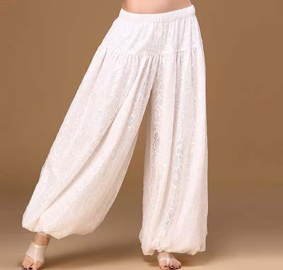 ベリーダンス衣装,ホワイトアラジンパンツ高級レース!ベリーダンス パンツ,品番:PT-091