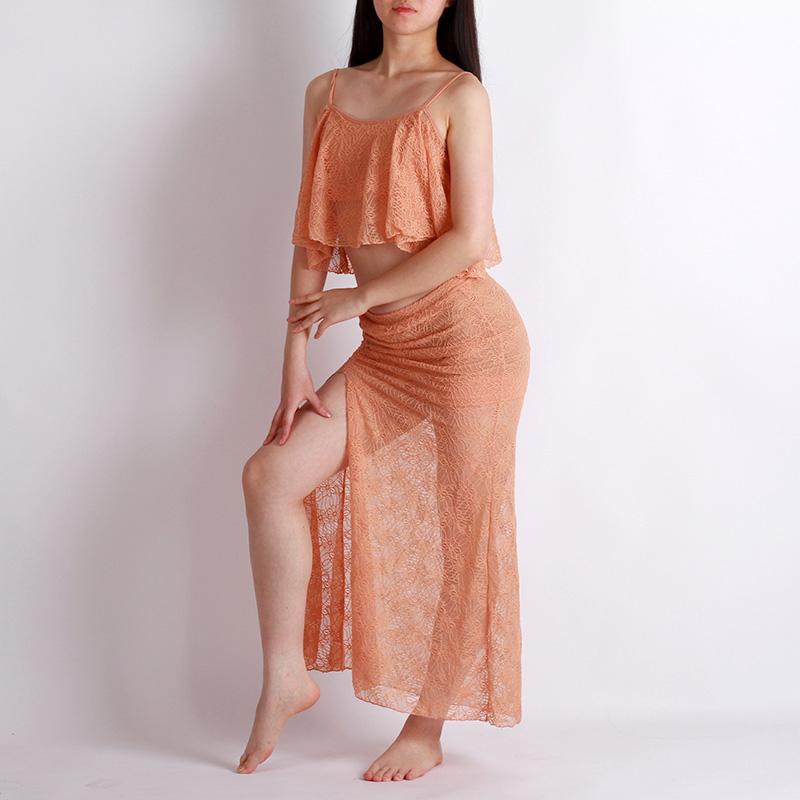 ベリーダンス衣装,ワンピース,品番K-003ヌーディーピンクレースが可愛いトップとスカート2点セット