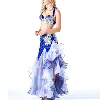 品番VA-011今期人気の瑠璃色ベリーダンス衣装ブラとスカート2点セット