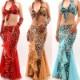 ベリーダンス衣装ヒョウ柄ブラとスカートとアーム3点セット品番SL-003