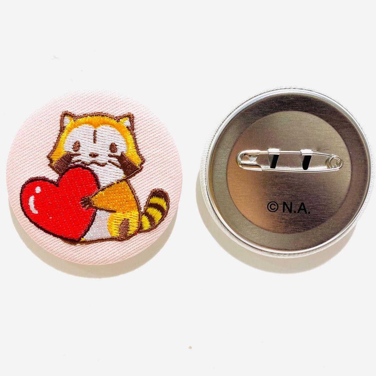 あらいぐまラスカル神戸限定刺繍缶バッジハート