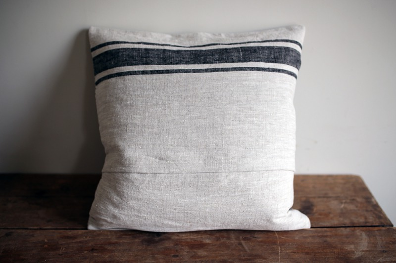 Original linen cushion cover 45 / Provance black&natural <p>オリジナル リネンクッションカバー</p>
