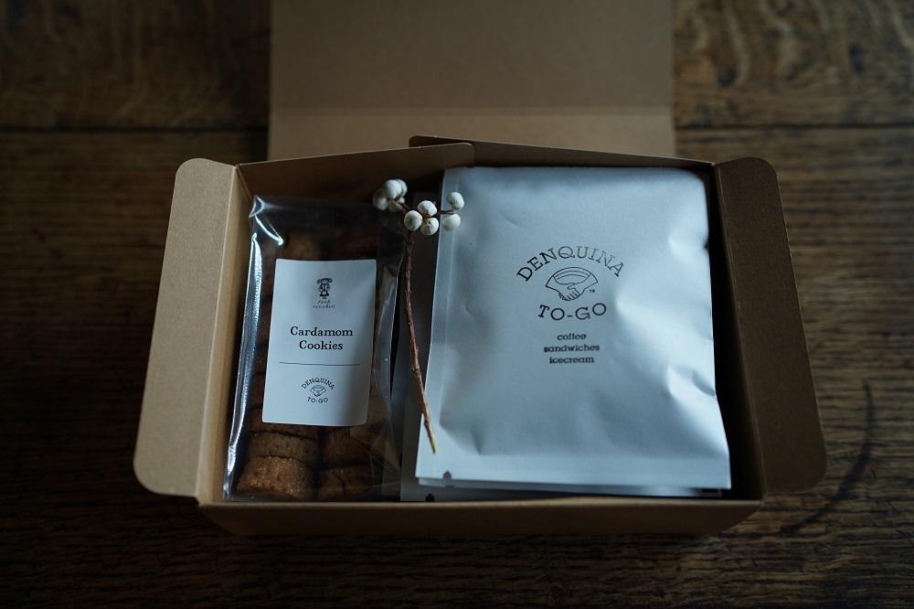 foodremedies×DENQUINA TO-GO Cardamom cookies & Drip bag Box <p>カルダモンクッキー&デンキーナオリジナルコーヒードリップバッグボックス</p>