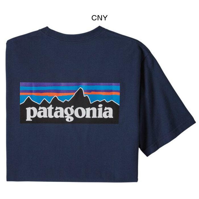 patagonia メンズ・P-6ロゴ・ポケット・レスポンシビリティー 38512 Tシャツ 半袖 胸ポケット リサイクル素材 ブルーサイン認証 ロゴ 2020春夏 正規品