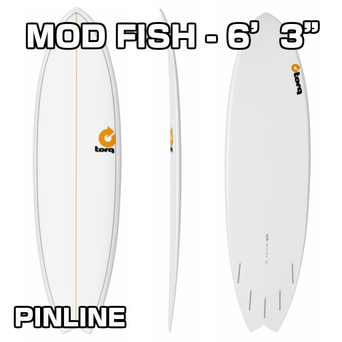 "TORQ Surfboard トルクサーフボード MOD FISH - 6'3""  WHITE PINLINE ファンボード 6.3フィート サーフィン SURF"