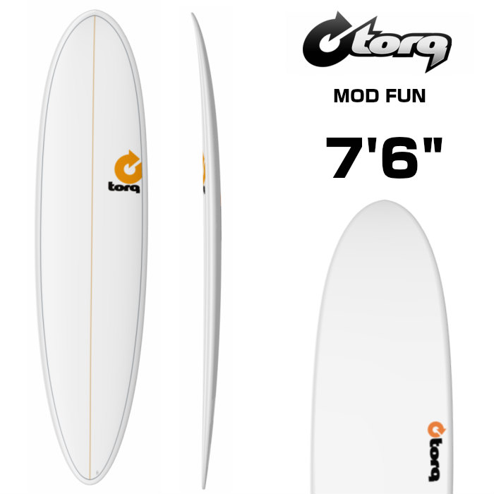 "TORQ Surfboard トルクサーフボード MOD FUN - 7'6""  WHITE PINLINE ファンボード 7.6フィート サーフィン SURF"