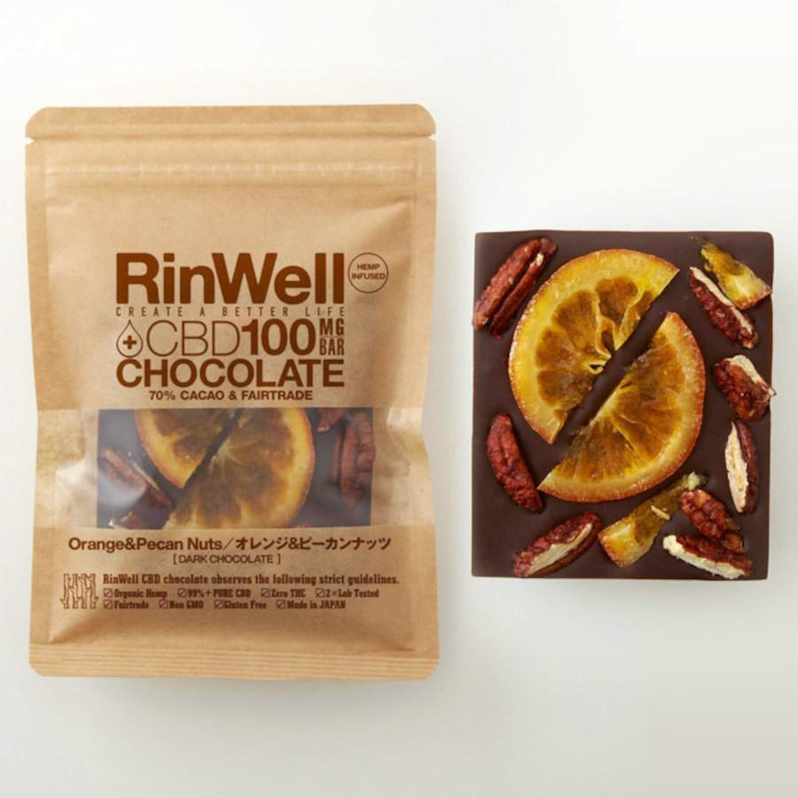 CBDチョコレートバー オレンジ&ピーカンナッツ(ダークチョコ)/RinWell(CBDチョコレート)