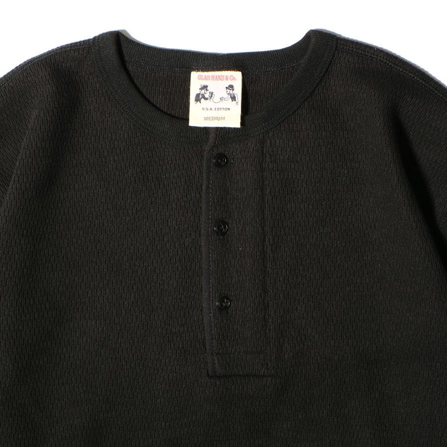 STANDARD WAFFLE HENRY L/S T-SHIRTS BK/GLAD HAND (Tシャツ)