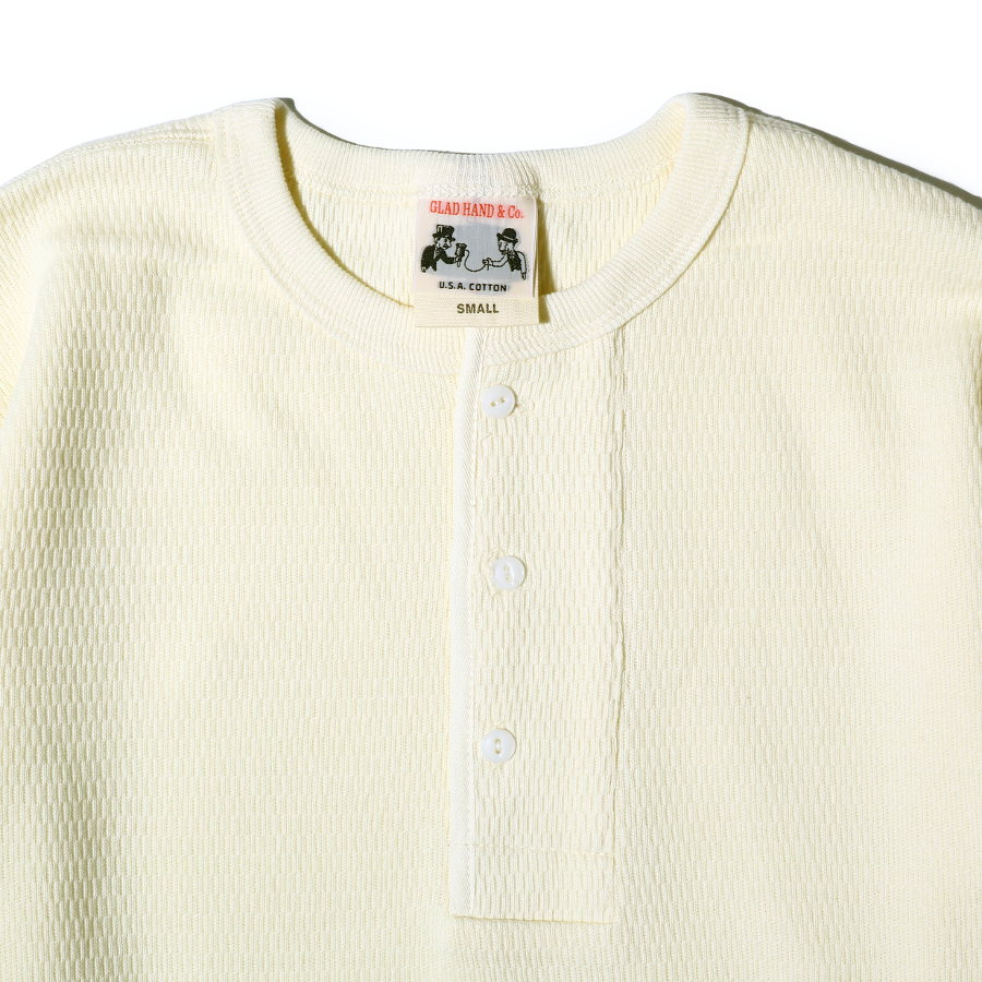 STANDARD WAFFLE HENRY L/S T-SHIRTS WH/GLAD HAND (Tシャツ)