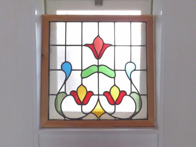 アンティーク 赤いチューリップのステンドグラス