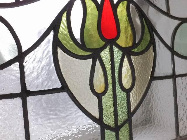 アンティーク 赤と黄色つぼみのステンドグラス