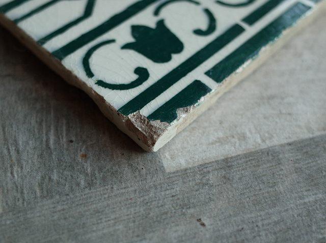 アンティーク フランスで買い付けた DIYにもおすすめ アールヌーボー柄 グリーンのタイル