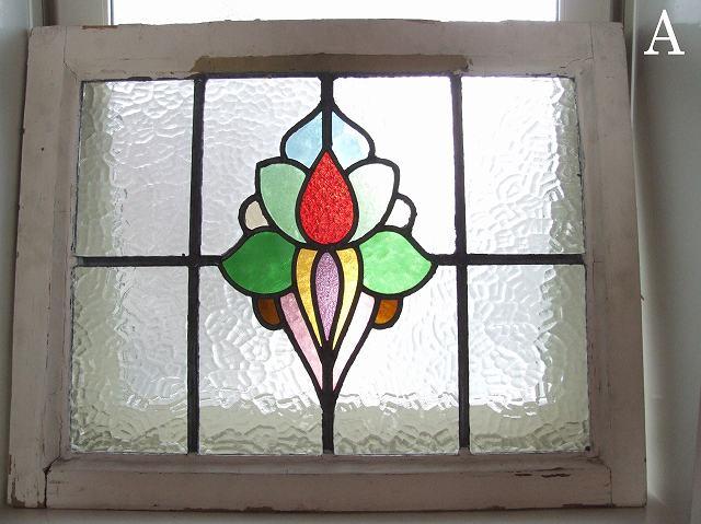 アンティーク フラワーモチーフのステンドグラス