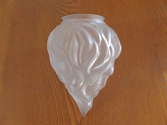 アンティーク フロストガラスのドロップ型ランプシェード【ギャラリー付】