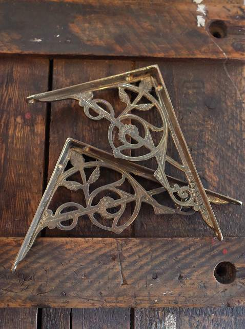 アンティーク イギリスで買い付けた リフォーム・DIYにおすすめ 真鍮製のブラケット(ペア)