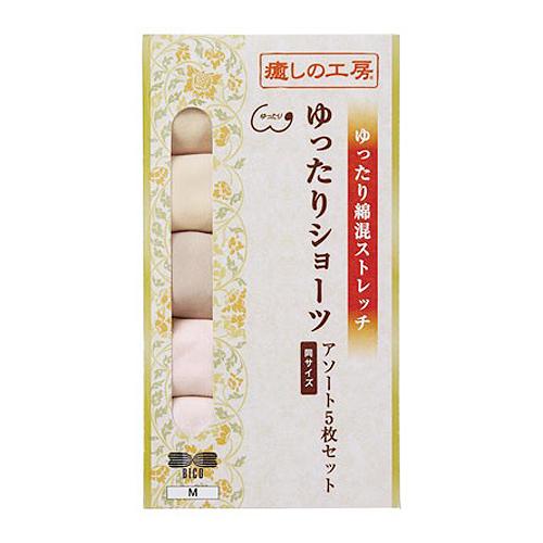 ゆったりショーツ 綿混ストレッチ 5枚組 癒しの工房 日本製(MLサイズ)
