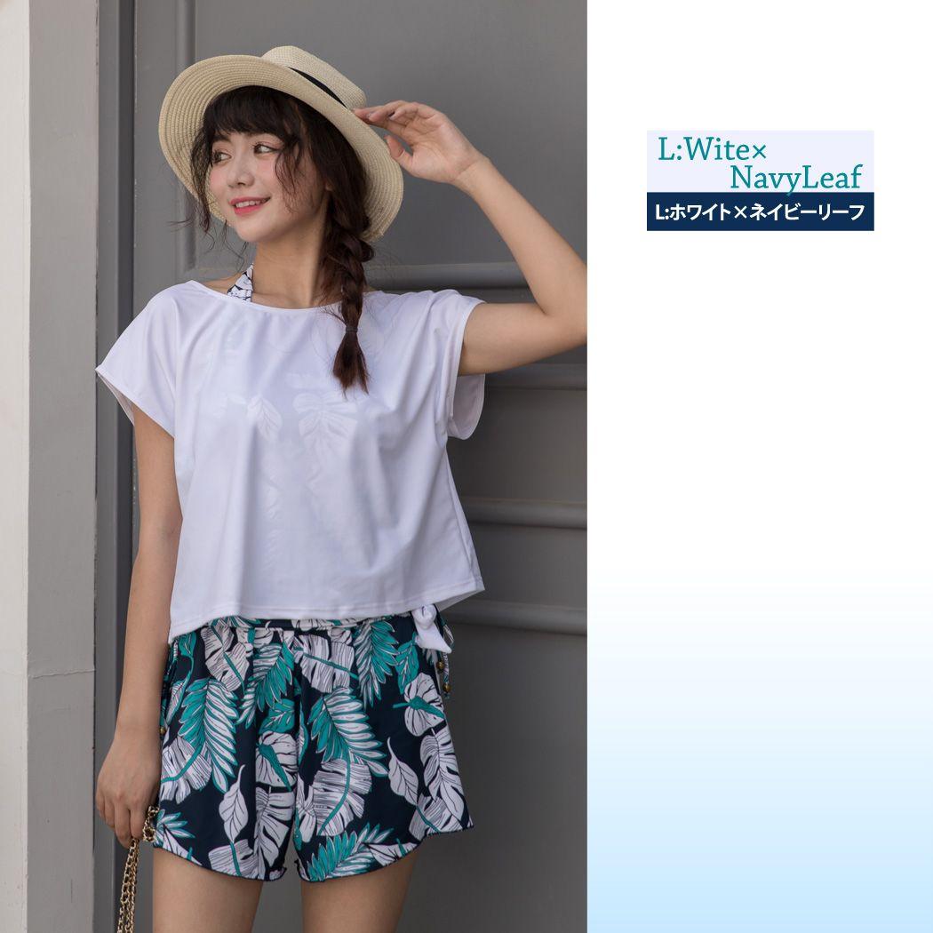 水着 体型カバー水着 レディース タンキニ ミセス ママ水着 ショートパンツ Tシャツ 送料無料 即日発送