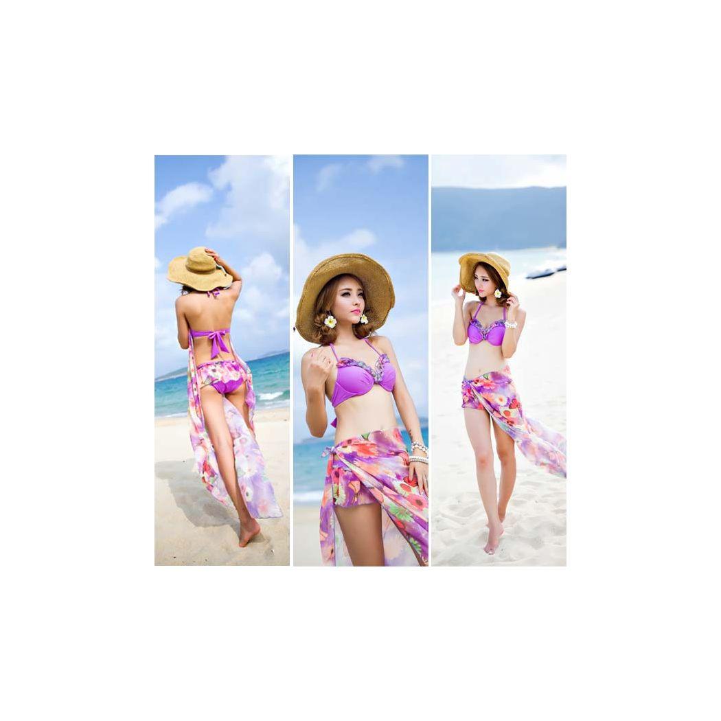 レディース 体型カバー 水着 ビキニ ワイヤー入り ホルターネック 2way フラワー 大判パレオ付きワンピース スカート風ショーツ 花柄 バックフリル 蝶 3点セット 女性用 セクシー かわいい オシャレ ママ 大人  XL 13号 緑 ピンク バスト 盛れる 20代 30代 40代