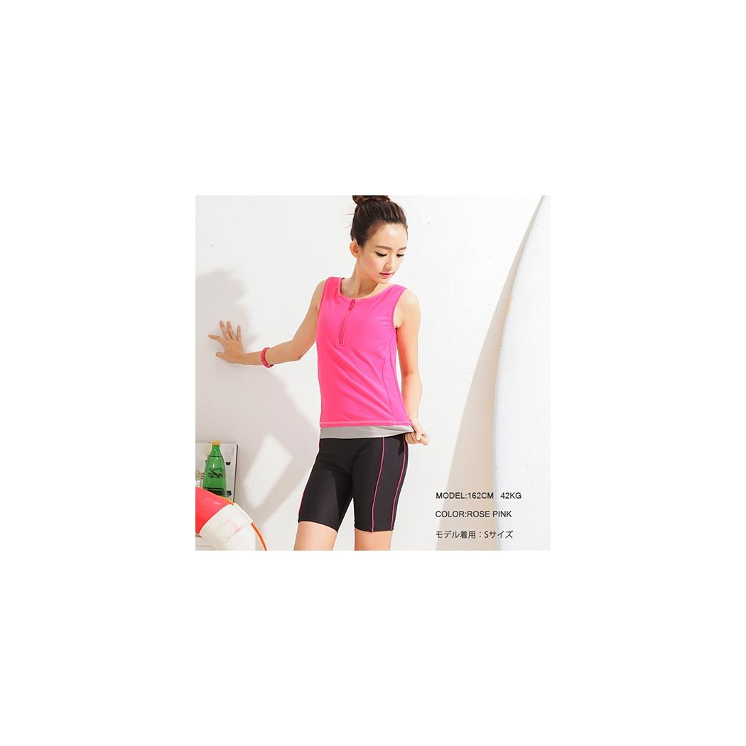 体型カバー フィットネス水着 レディース セパレート タンキニ ラッシュガード uvカット スイムウェア ショートパンツ ハーフ ジップ  スポーツ 競泳 プール ジム 運動用 2点セット 女性 シンプル 無地 ライン 可愛い 黒 黄色 ピンク