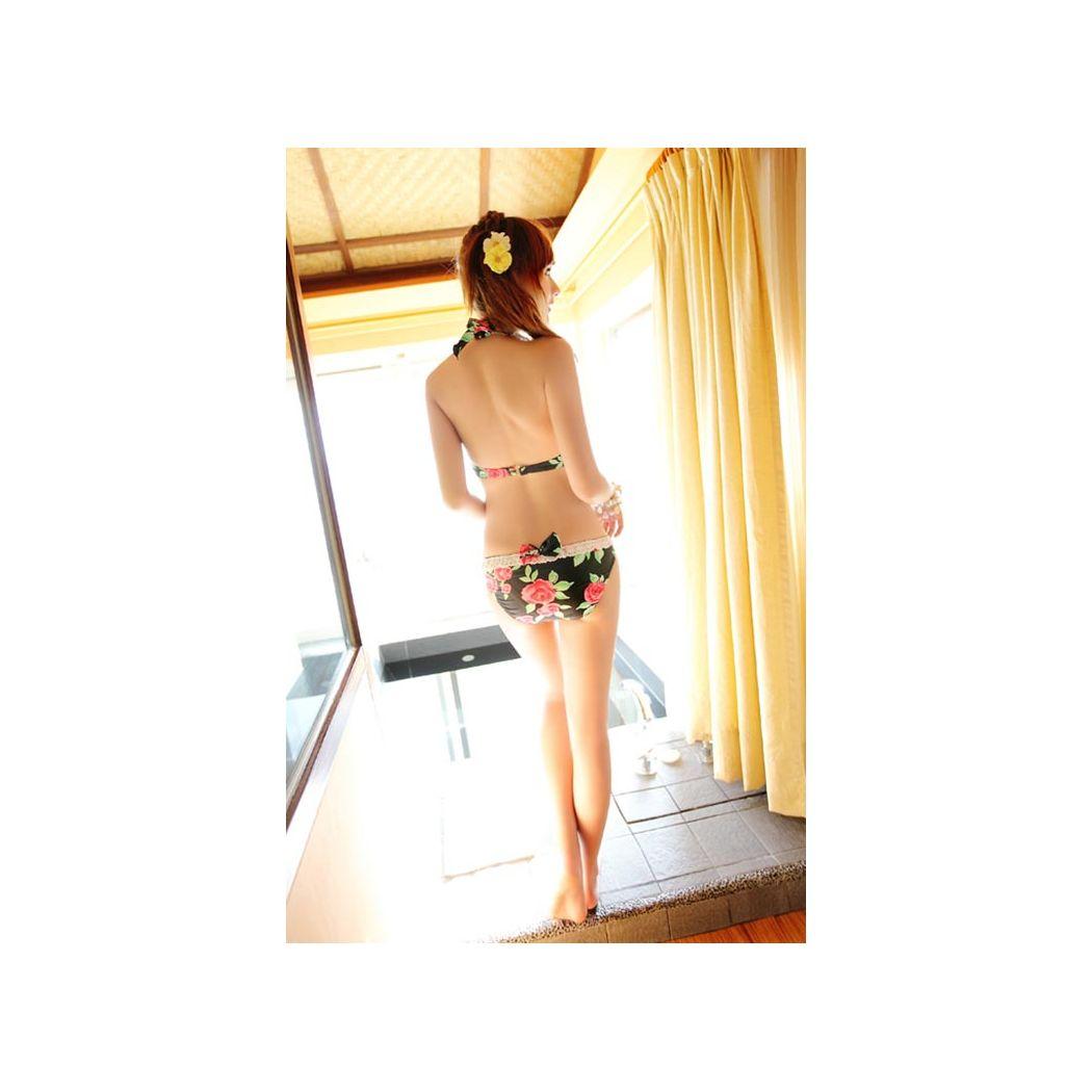 水着 レディース ビキニ ミニスカート 3点セット 体型カバー ママ ワイヤーブラ ホルターネック セクシー  大人 女性用 フリル レース リボン かわいい 花柄 バラ 黒 即日発送