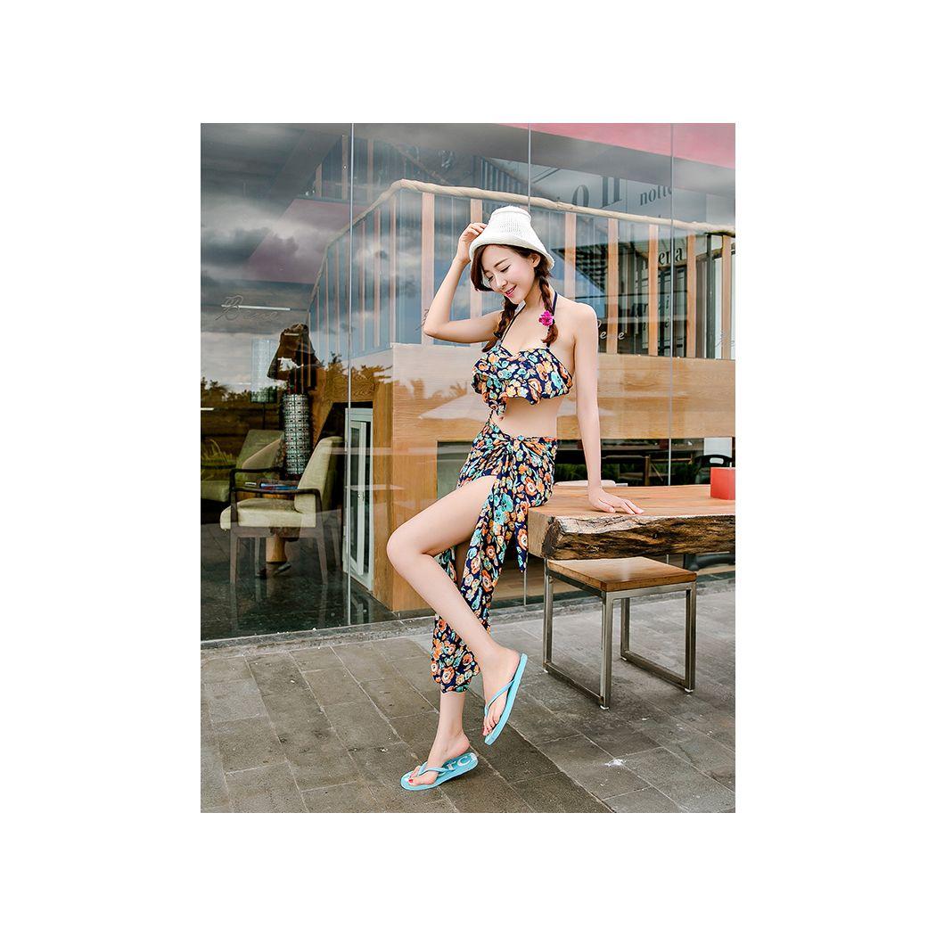 水着 レディース フレアトップ ホルターネック ビキニ ティアード パレオ付き体型カバー 3点セット 花柄 フリル 女性用 ママにもおすすめ