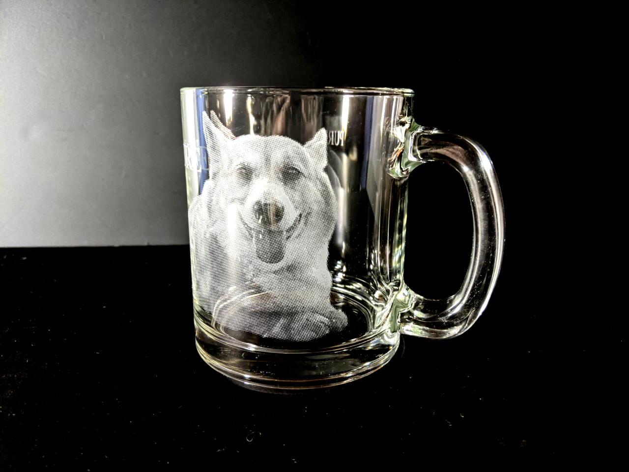 ペットの写真彫刻マググラス