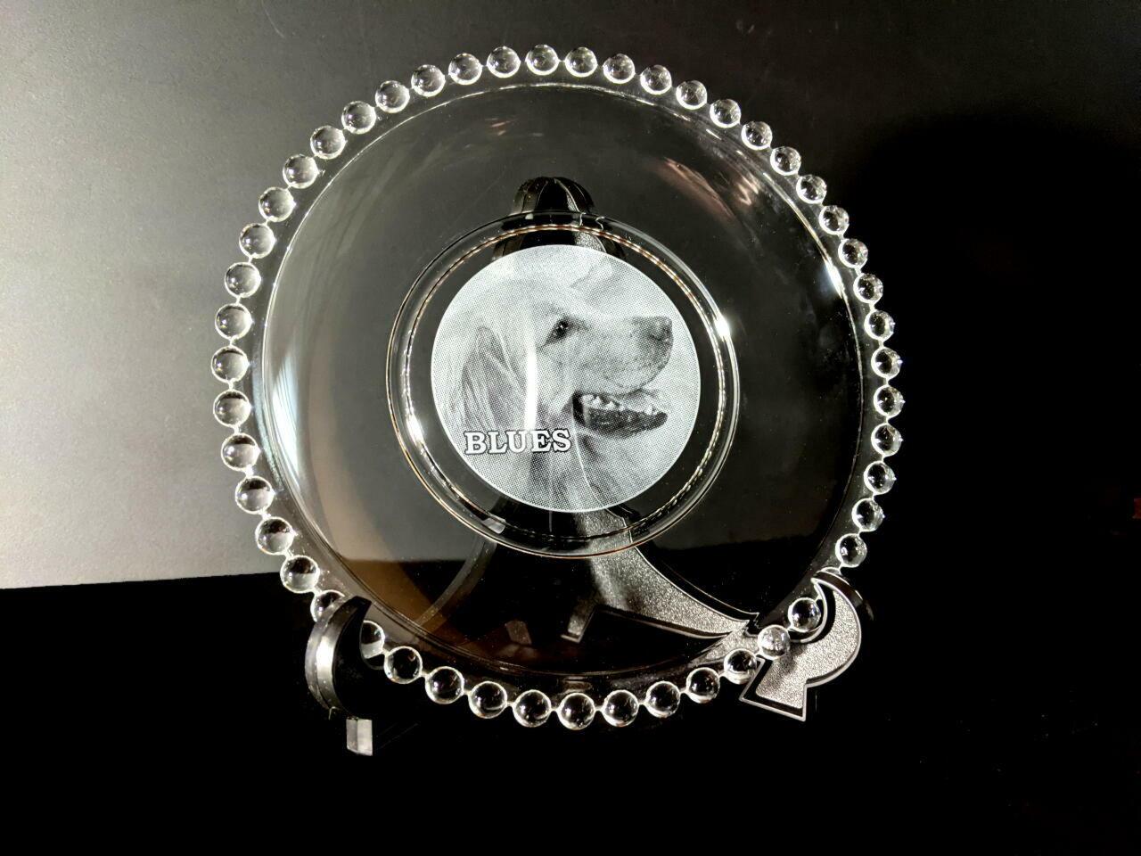 ペットの写真彫刻プレート皿